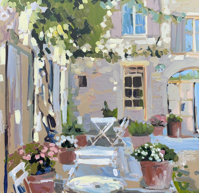 Laura Lacambra Shubert Landscape Painting - Outdoor Terrace by Laura L Shubert, Square Provencal Oil Painting with Blue