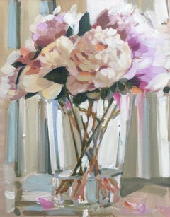 Peonies in a Glass Vase, Laura Shubert Impressionist Still-Life Floral Painting