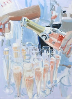 Pink Champagne, Impressionist Oil and Acrylic on Canvas Vertical Painting
