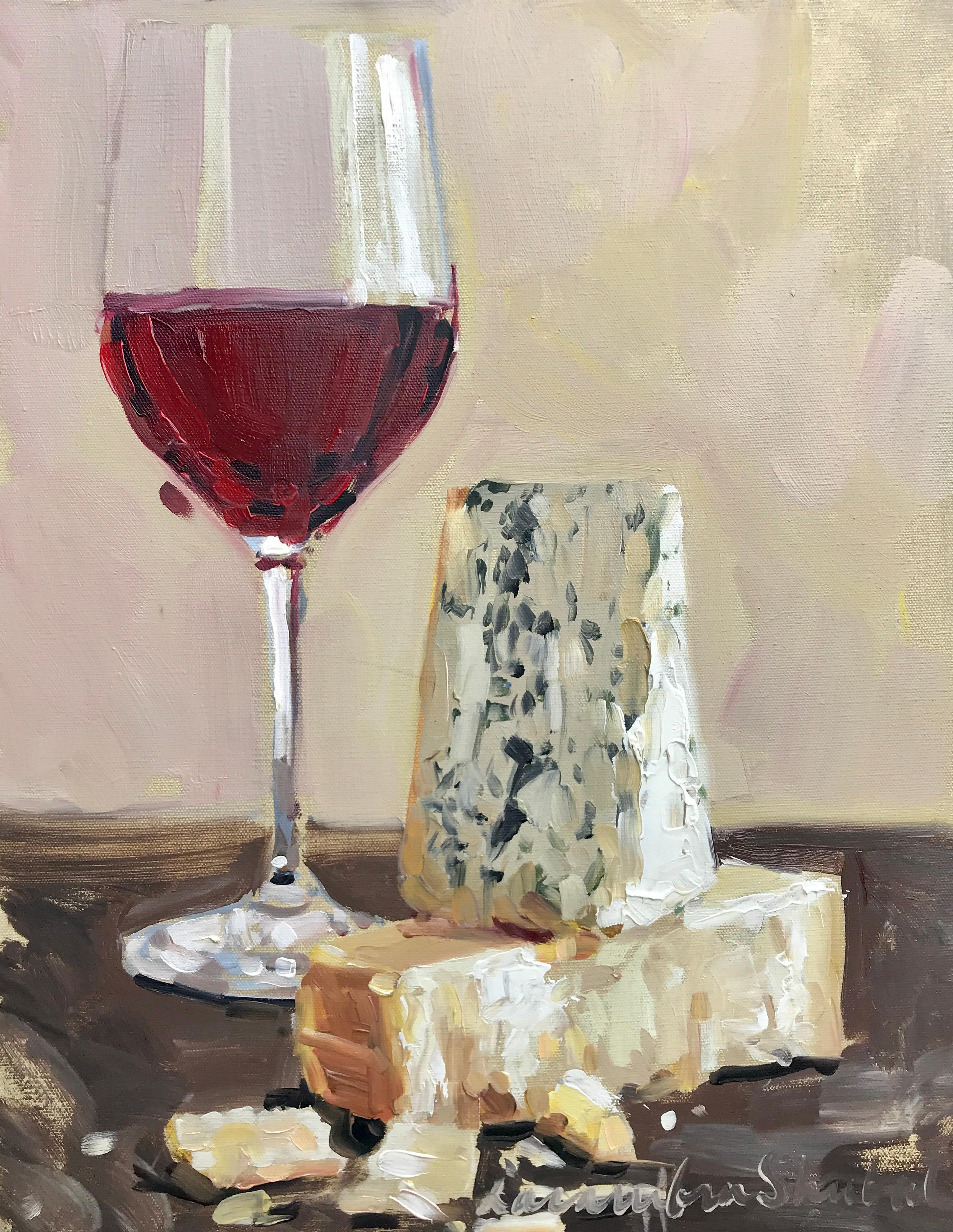Red Wine and Cheese by Laura Shubert, Petite Oil on Canvas Still-Life Painting