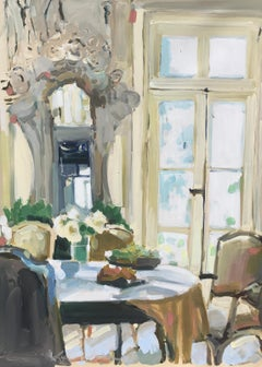 Sunlit Dining Room by Laura Shubert, Vertical Impressionist Interior Painting