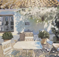 Sunny Terrace by Laura Lacambra Shubert, Square Impressionist Painting