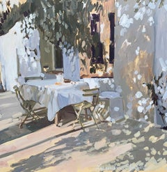 Table Set for Two, Laura Shubert Large Impressionist Provençale Oil Painting