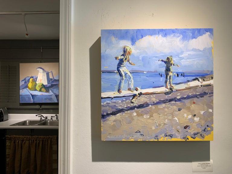 Walking the Log by Laura Shubert, Petite Oil on Board Beach Figurative Painting - Blue Landscape Painting by Laura Lacambra Shubert
