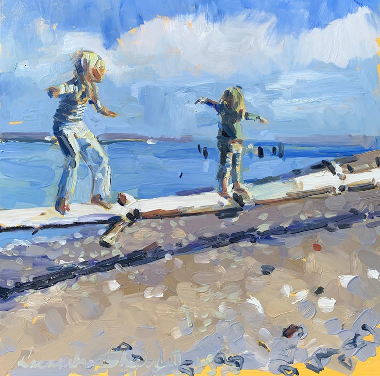 Laura Lacambra Shubert Landscape Painting - Walking the Log by Laura Shubert, Petite Oil on Board Beach Figurative Painting