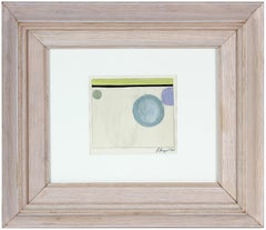 Minimal Abstract Painting in Blue Purple & Green, Gouache & Graphite, 1965