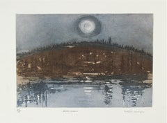 """Arctic Moon"" Bay Area Landscape Etching with Mountain & Water Reflections, 1981"