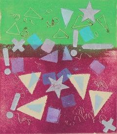"""Concept II"" Geometric Abstract Monotype, 1987"