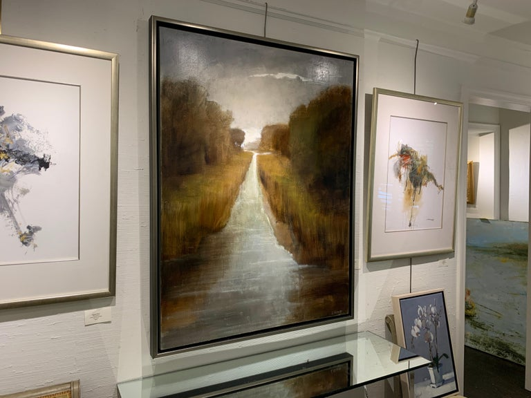 Follow Me by Laura Lloyd Fontaine, Green and Neutral Framed Landscape Painting 7