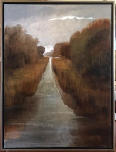 Follow Me by Laura Lloyd Fontaine, Green and Neutral Framed Landscape Painting