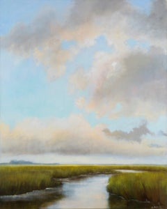 So Grateful by Laura Lloyd Fontaine, Green and Blue Landscape Painting