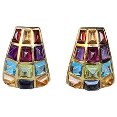 Laura M Citrine, Iolite Topaz Peridot Amethyst and Garnet 18 Karat Gold Earrings