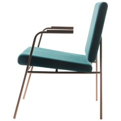 """Laura"" Minimalist Armchair in Painted Steel with Wooden Arms"