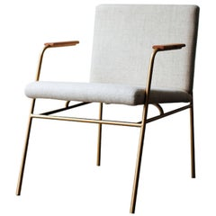 """Laura"" Minimalist Chair in Painted Steel with Wooden Arms"
