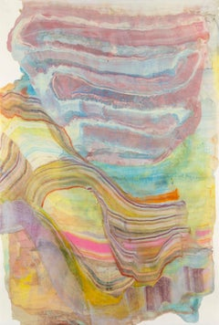 A Sign of Time Seven, Purple Mauve Blue Yellow Pink Abstract Encaustic Monotype