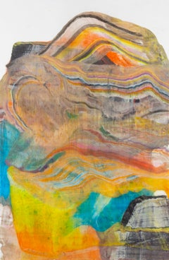 A Sign of Time Two, Bright Orange, Brown, Blue and Yellow Abstract Monotype