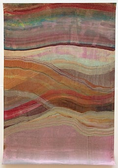 Agates Four, Abstract Encaustic Monotype in Pink, Orange, Teal, Brown, Yellow