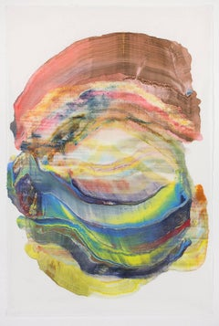 Ash Plume Four, Colorful Pink and Yellow Abstract Encaustic Monotype on Paper