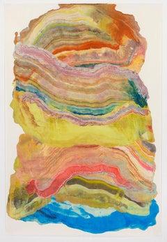 Ash Plume Six, Pink, Brown, Blue, Yellow, Orange Abstract Encaustic Monotype