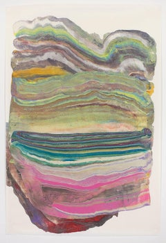 Belly Laugh, Medium Abstract Colorful Green Blue Pink Multicolored Encaustic