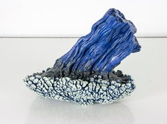 Color Field: Indigo, Pewter and Pale Blue Grey Encaustic Sculpture in Cobalt