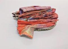 Enfolding, Encaustic Sculpture in Orange, Pink, Purple, Blue, Pale Yellow
