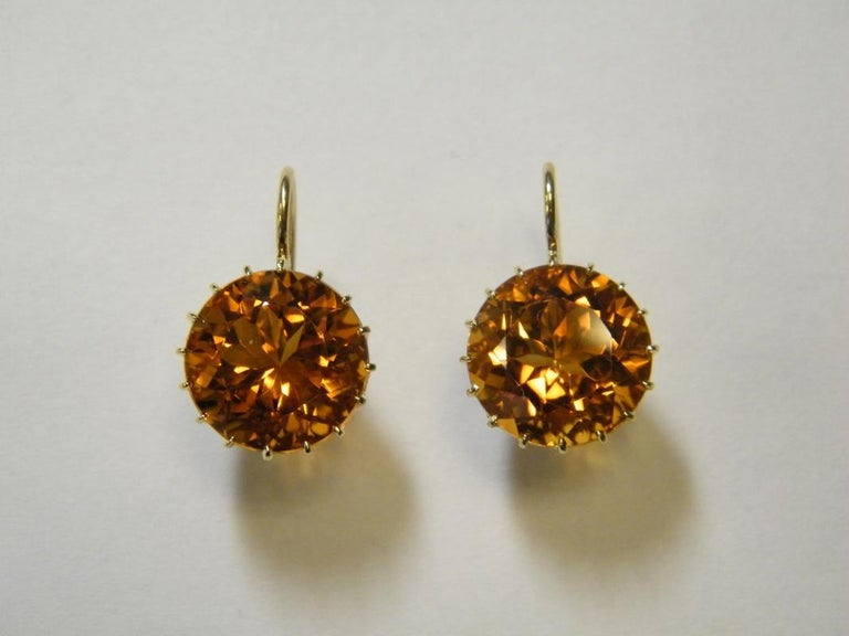 Round Cut Laura Munder 13.9 millimeter Honey Citrine Drops on a Wire Gold Earrings  For Sale