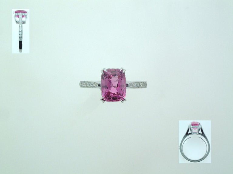 Women's Laura Munder 3.53 Carat Cushion Cut Pink Sapphire Diamond Gold Ring  For Sale
