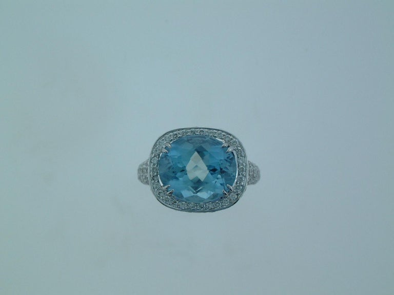 Laura Munder Aquamarine Diamond White Gold Ring In New Condition For Sale In West Palm Beach, FL
