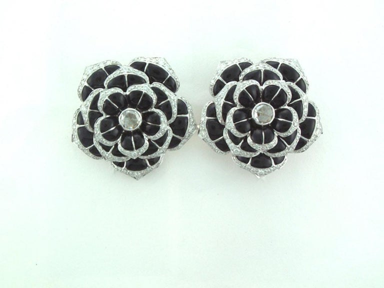 Laura Munder Black Onyx Diamond White Gold Earrings In New Condition For Sale In West Palm Beach, FL