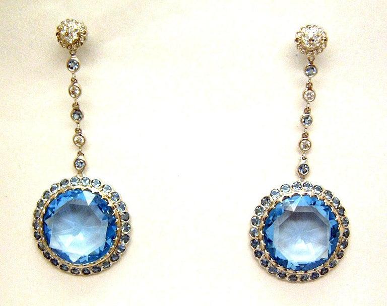 Briolette Cut Laura Munder Blue Topaz Aquamarine Diamond White Gold Earrings For Sale