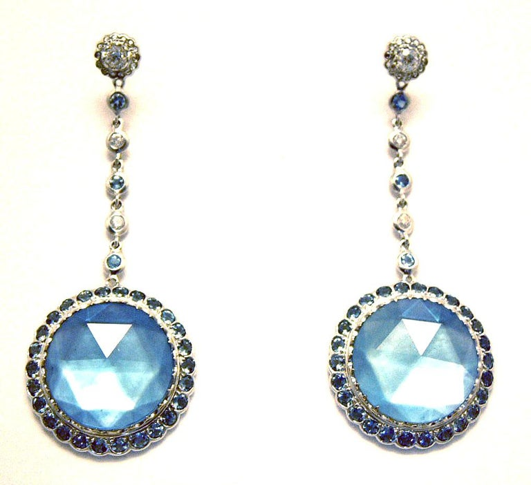 Laura Munder Blue Topaz Aquamarine Diamond White Gold Earrings In New Condition For Sale In West Palm Beach, FL