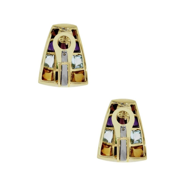 Laura Munder Cabochon Gemstone Earrings In Excellent Condition For Sale In Boca Raton, FL