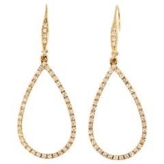 Laura Munder Diamond Drop Yellow Gold Leverback Earrings