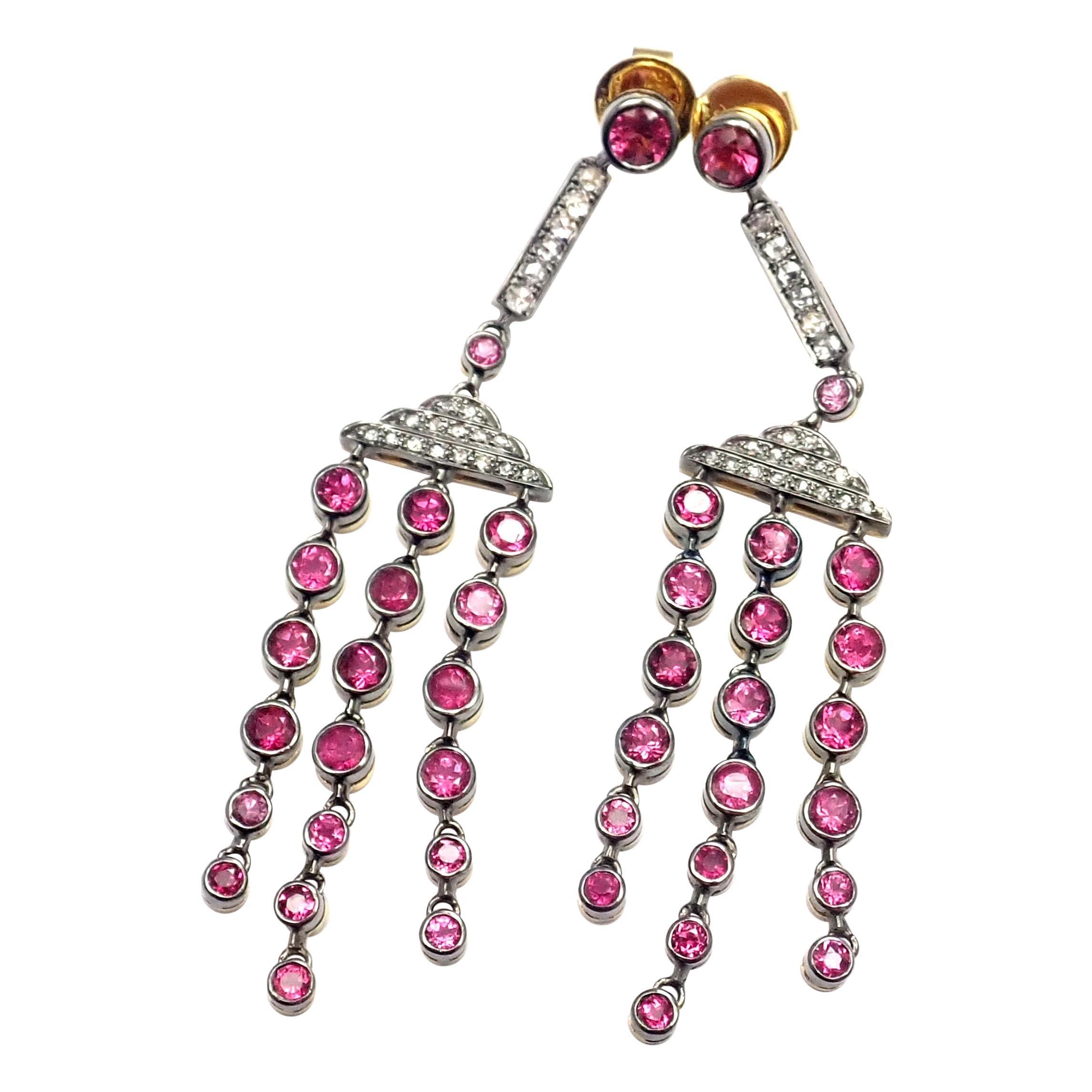 Laura Munder Diamond Pink Sapphire Yellow Gold Dangle Earrings