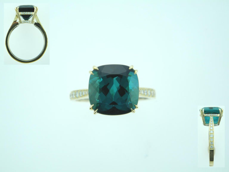 Women's Laura Munder Indicolite Blue Green Tourmaline Diamond Yellow Gold Ring For Sale