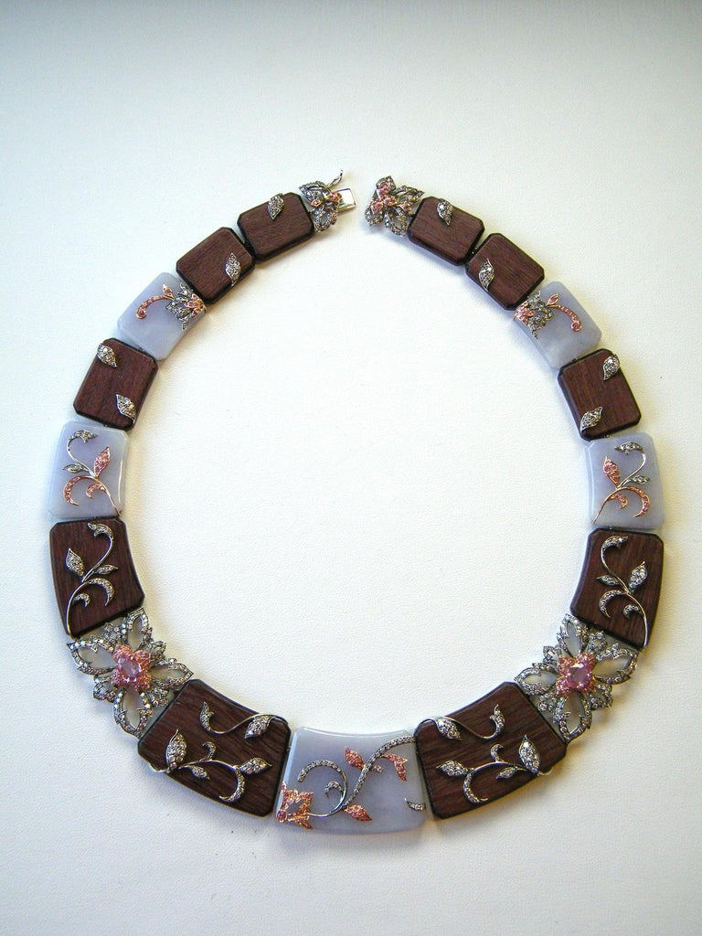 Laura Munder Lavender Jade Amaranth Wood Pink Sapphire and Diamond Necklace In New Condition For Sale In West Palm Beach, FL