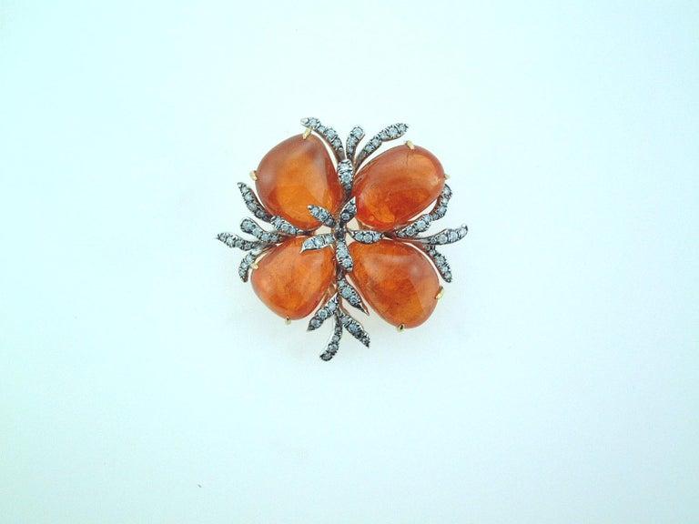 Tumbled Laura Munder Mandarin Garnet and Diamond Brooch For Sale