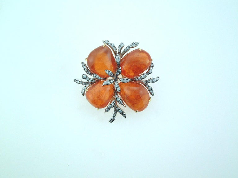 Laura Munder Mandarin Garnet and Diamond Brooch In New Condition For Sale In West Palm Beach, FL