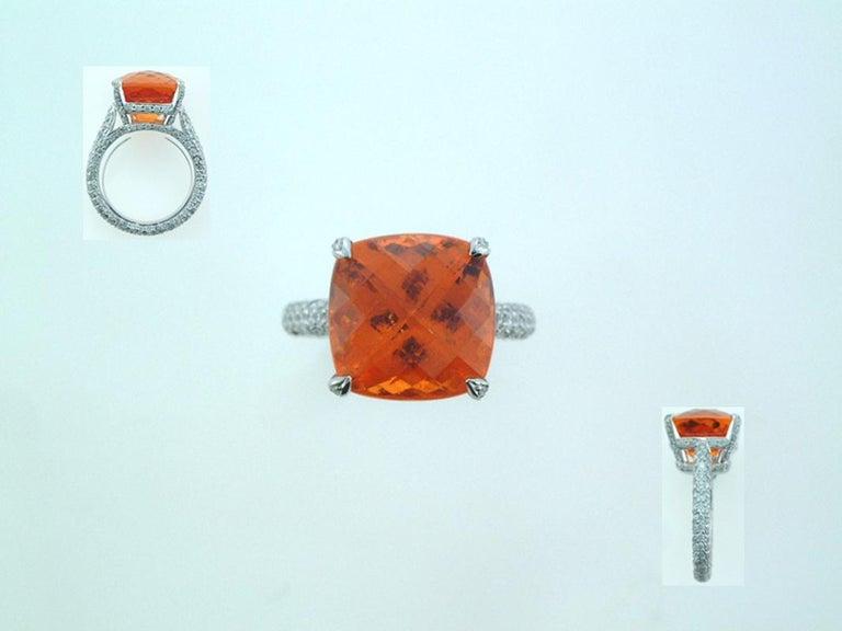 Laura Munder Mandarin Garnet Diamond White Gold Ring In New Condition For Sale In West Palm Beach, FL