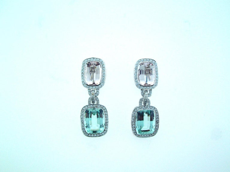 Cushion Cut Laura Munder Mint Green Tourmaline Morganite Beryl Diamond White Gold Earrings For Sale