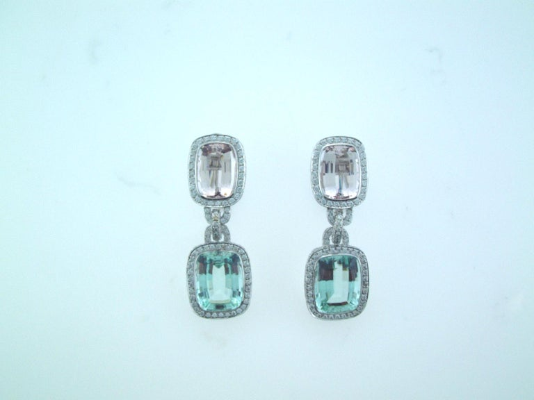 Laura Munder Mint Green Tourmaline Morganite Beryl Diamond White Gold Earrings In New Condition For Sale In West Palm Beach, FL