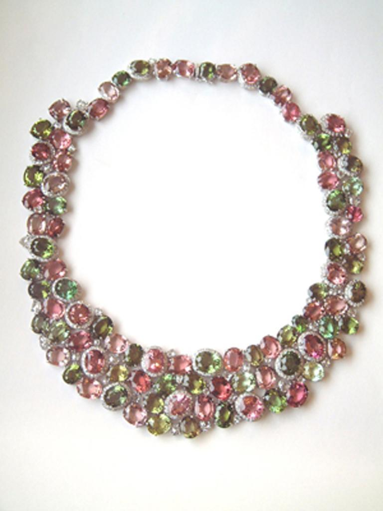Laura Munder Pink Green Tourmaline Diamond Necklace In New Condition For Sale In West Palm Beach, FL
