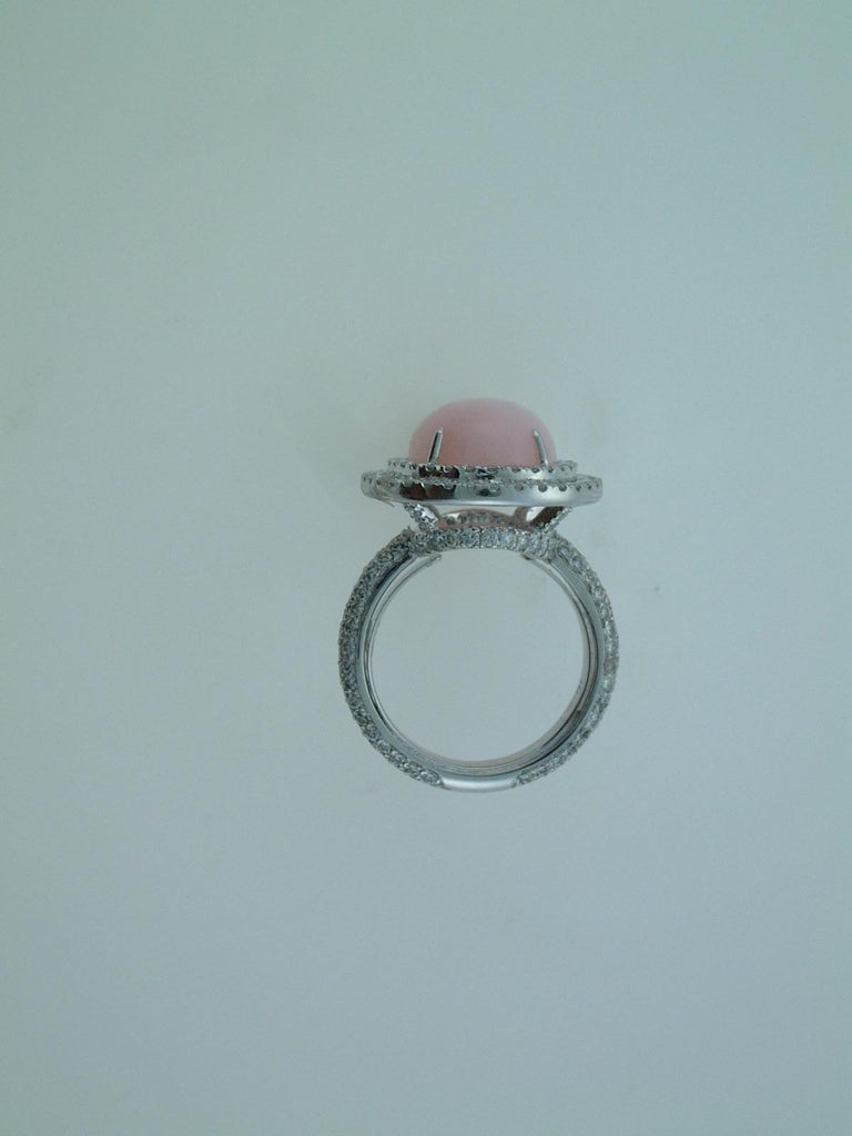 Laura Munder Pink Opal Cabachon Diamond White Gold Ring For Sale 1