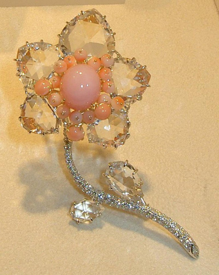 Cabochon Laura Munder Pink Opal Coral Crystal and Diamond White Gold Brooch For Sale