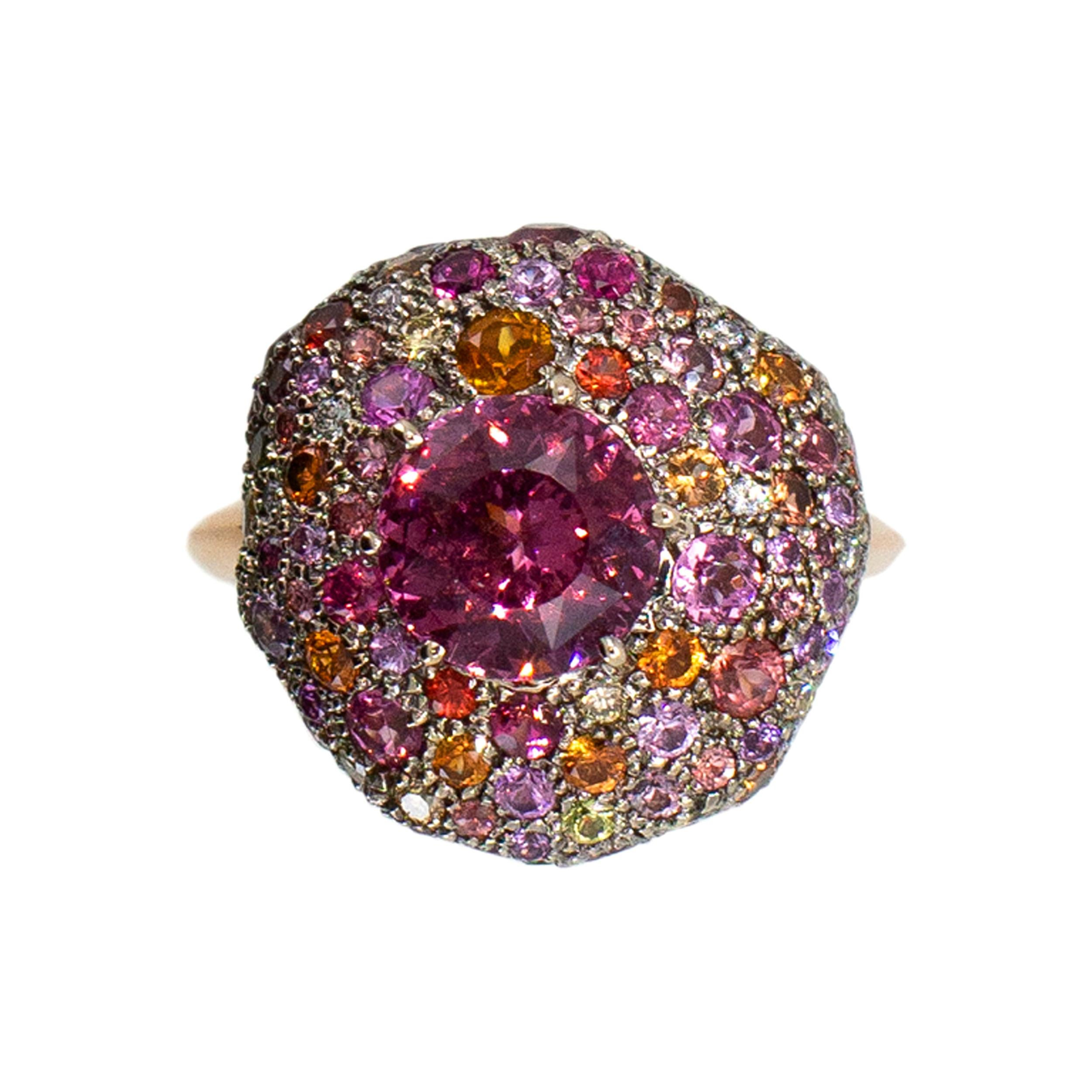 Laura Munder Pink Spinel Diamond Sapphire Tourmaline Citrine Fashion Ring