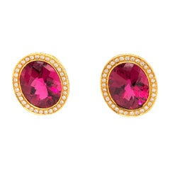 Laura Munder Rubellite and Diamond Earrings