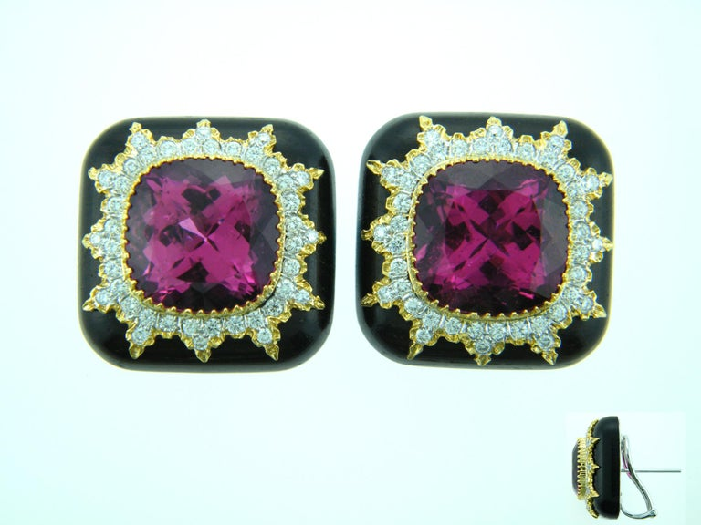 Laura Munder Rubellite Tourmaline Diamond Gold Grenadill wood Earrings In New Condition For Sale In West Palm Beach, FL