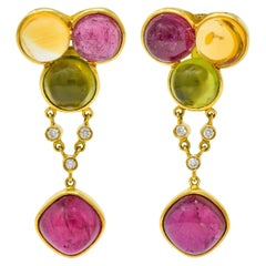 Laura Munder Tourmaline Peridot Citrine Diamond 18 Karat Gold Drop Earrings