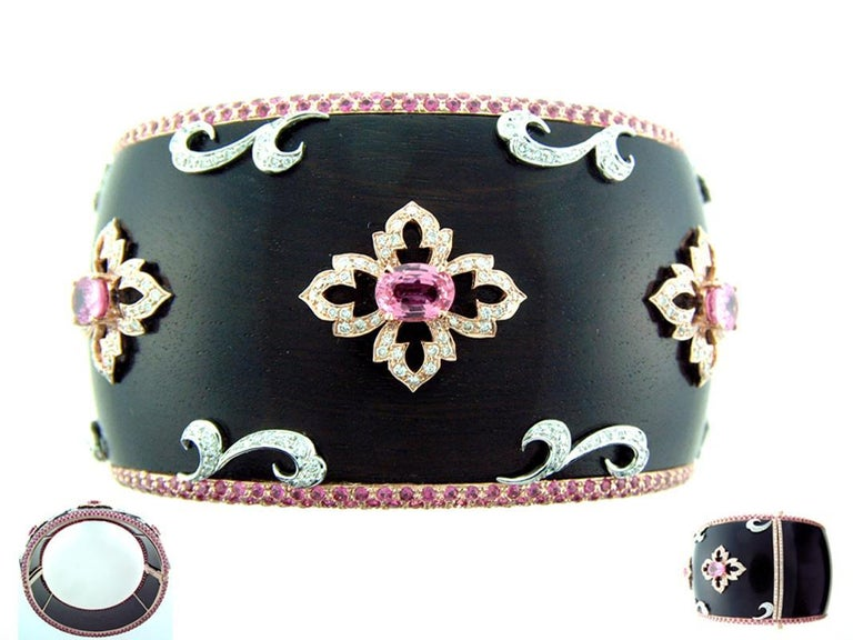 Oval Cut Laura Munder Wood Pink Sapphire Diamond Rose White Gold Bangle Bracelet For Sale